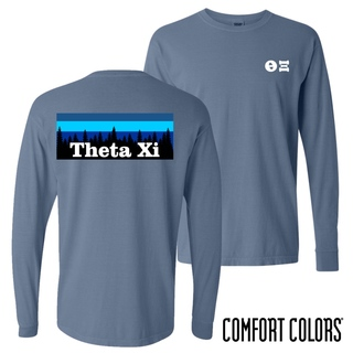 Theta Xi Outdoor Long Sleeve T-shirt - Comfort Colors