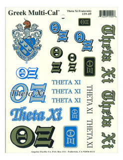 Theta Xi Multi Greek Decal Sticker Sheet