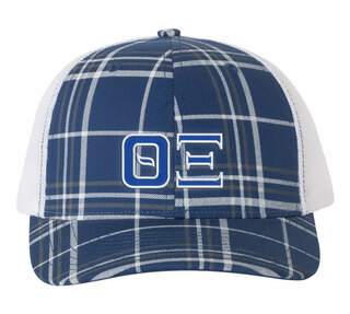 Theta Xi Plaid Snapback Trucker Hat - CLOSEOUT