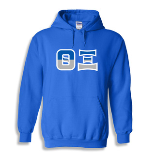 Theta Xi Two Tone Greek Lettered Hooded Sweatshirt