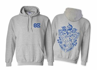 Theta Xi World Famous Crest - Shield Printed Hooded Sweatshirt- $35!