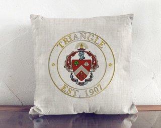 Triangle Crest Linen Pillow