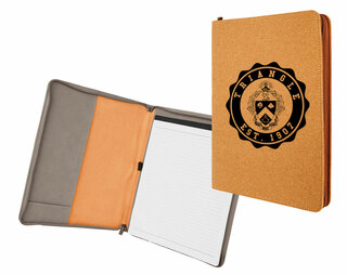 Triangle Fraternity Leatherette Zipper Portfolio with Notepad