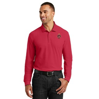 DISCOUNT-Triangle Fraternity Patch Long Sleeve Polo