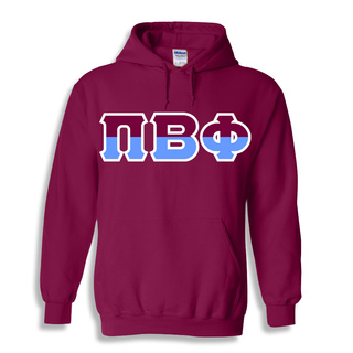 Two Tone Hand Sewn Greek Lettered Hooded Sweatshirt