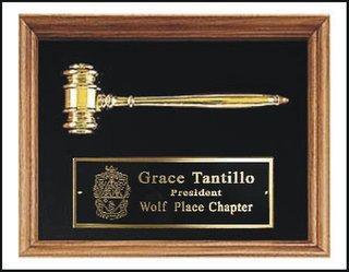 Walnut Frame w/ gold metal gavel