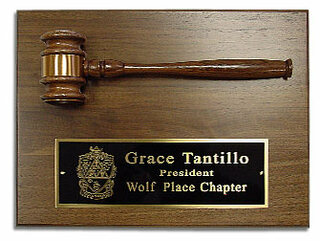 Wooden Greek Gavel Plaque