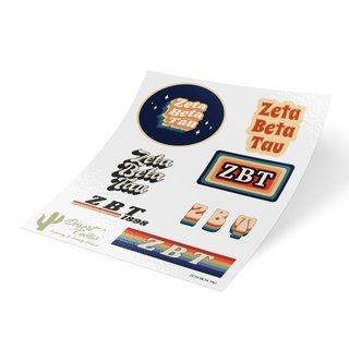 Zeta Beta Tau 70's Sticker Sheet