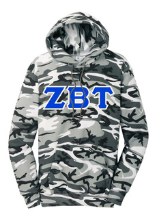 DISCOUNT-Zeta Beta Tau Camo Pullover Hooded Sweatshirt