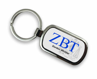 Zeta Beta Tau Chrome Crest - Shield Key Chain