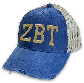 Zeta Beta Tau Distressed Trucker Hat