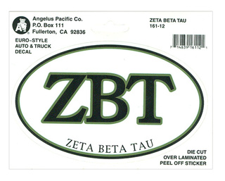 Zeta Beta Tau Euro Decal Oval Sticker