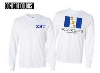 Zeta Beta Tau Flag Long Sleeve T-shirt - Comfort Colors