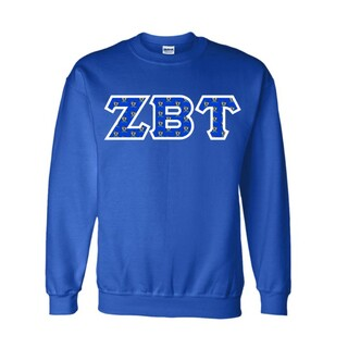 Zeta Beta Tau Fraternity Crest - Shield Twill Letter Crewneck Sweatshirt