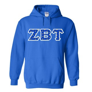 Zeta Beta Tau Fraternity Crest - Shield Twill Letter Hooded Sweatshirt