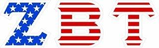 "Zeta Beta Tau Giant 4"" American Flag Greek Letter Sticker"