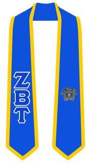 Zeta Beta Tau Greek 2 Tone Lettered Graduation Sash Stole