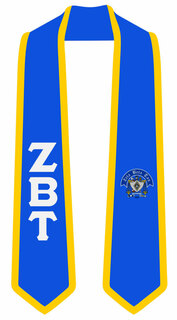 DISCOUNT-Zeta Beta Tau Greek 2 Tone Lettered Graduation Sash Stole