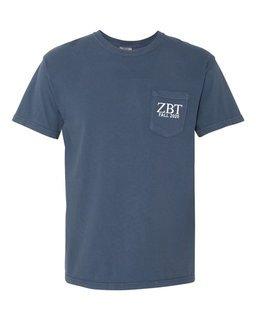 Zeta Beta Tau Greek Letter Comfort Colors Pocket Tee
