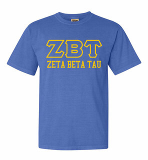 Zeta Beta Tau Greek Outline Comfort Colors Heavyweight T-Shirt