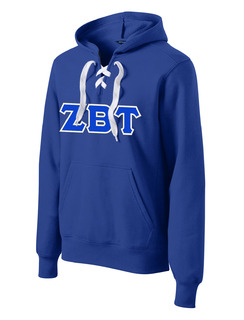 DISCOUNT-Zeta Beta Tau Lace Up Pullover Hooded Sweatshirt
