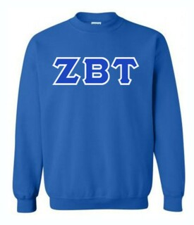 Zeta Beta Tau Sewn Lettered Crewneck Sweatshirt