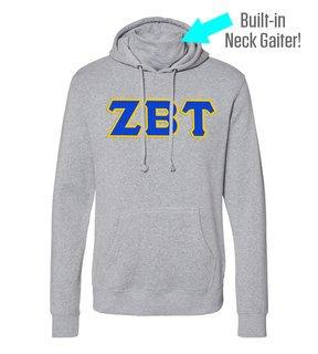 Zeta Beta Tau Lettered Gaiter Fleece Hooded Sweatshirt