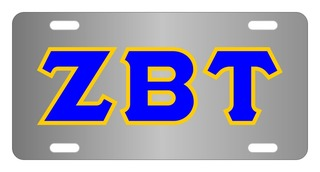 Zeta Beta Tau Lettered License Cover