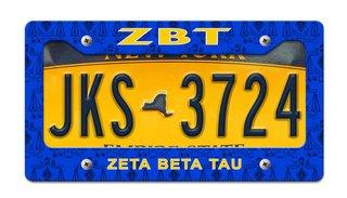 Zeta Beta Tau License Plate Frame