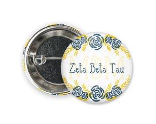 Zeta Beta Tau Mom Floral Button