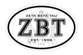 Zeta Beta Tau Oval Crest - Shield Bumper Sticker - CLOSEOUT