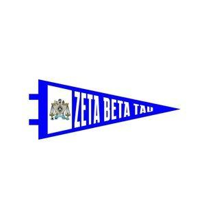 "Zeta Beta Tau Pennant Decal 4"" Wide"