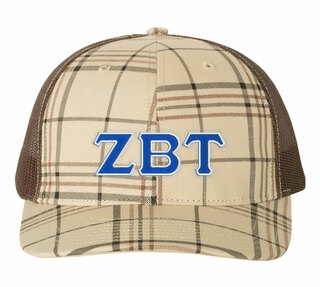 Zeta Beta Tau Plaid Snapback Trucker Hat - CLOSEOUT