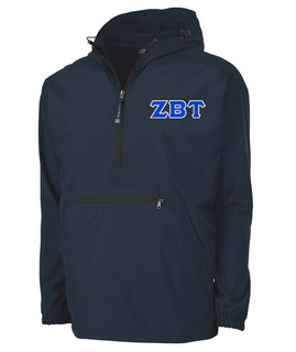 Zeta Beta Tau Tackle Twill Lettered Pack N Go Pullover
