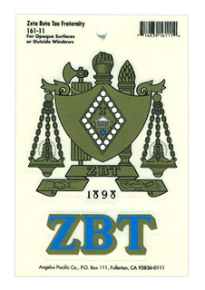 Zeta Beta Tau Water Slide Decal
