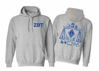 Zeta Beta Tau World Famous Crest - Shield Hooded Sweatshirt- $35!