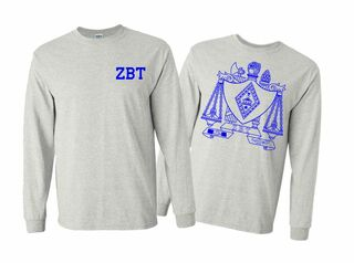 Zeta Beta Tau World Famous Crest - Shield Long Sleeve T-Shirt- $19.95!