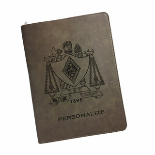 Zeta Beta Tau Zipper Leatherette Portfolio with Notepad