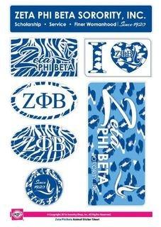 Zeta Phi Beta Animal Print Stickers