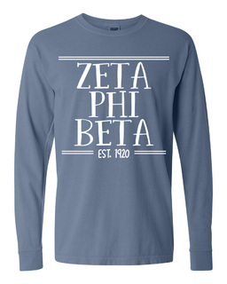 Zeta Phi Beta Comfort Colors Established Long Sleeve T-Shirt