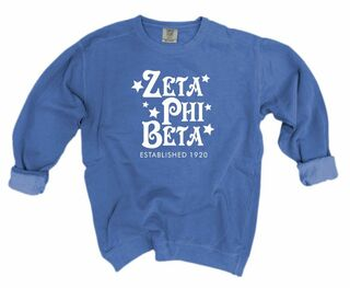 Zeta Phi Beta Comfort Colors Old School Custom Crew