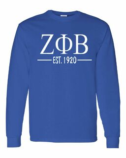 Zeta Phi Beta Custom Greek Lettered Long Sleeve T-Shirt
