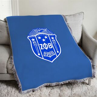 Zeta Phi Beta Full Color Crest Afghan Blanket Throw