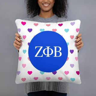 Zeta Phi Beta Hearts Pillow