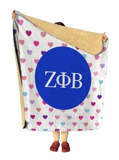 Zeta Phi Beta hearts Sherpa Lap Blanket