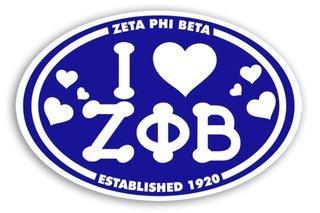 Zeta Phi Beta I Love Sorority Sticker - Oval