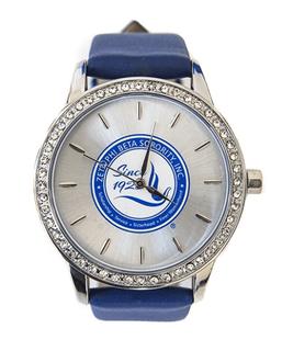Zeta Phi Beta Leather Band Watch w/ Shield