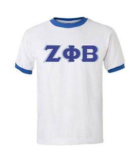DISCOUNT-Zeta Phi Beta Lettered Ringer Shirt