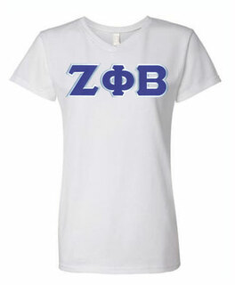 DISCOUNT-Zeta Phi Beta Lettered V-Neck Tee