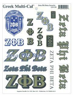 Zeta Phi Beta Multi Greek Decal Sheet